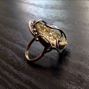 Vintage Raw Geode Statement Ring